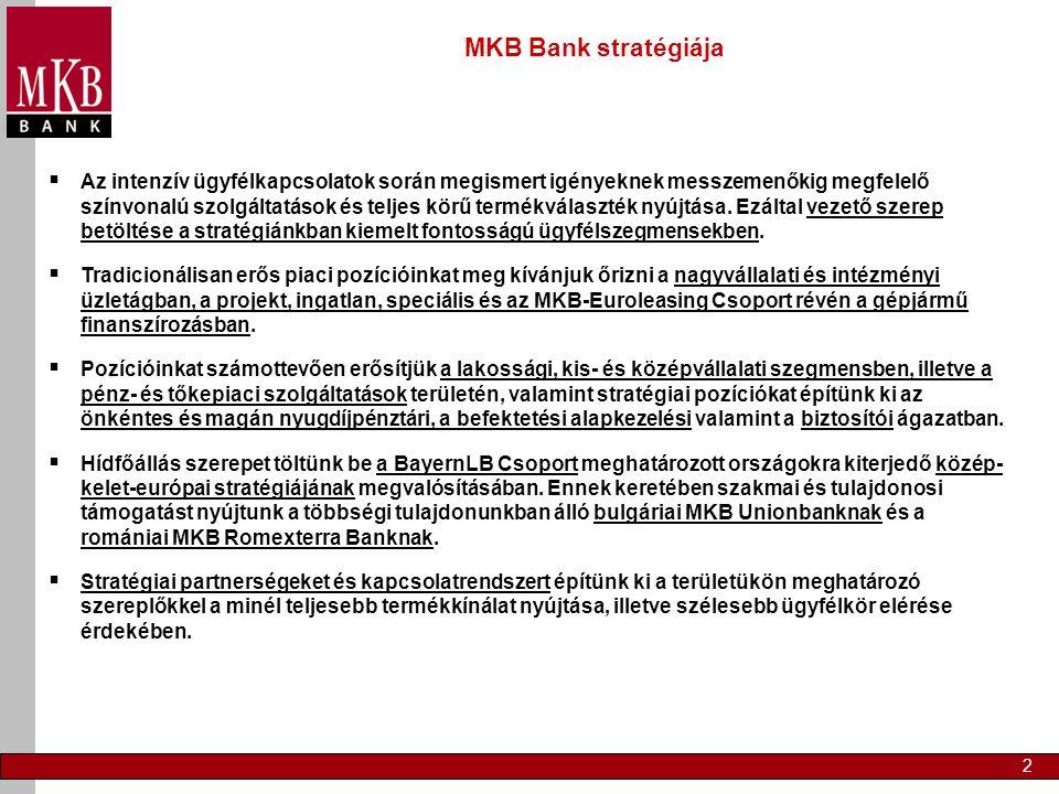2 MKB Bank stratégiája  Az intenzív ügyfélkapcsolatok során megismert igényeknek messzemenőkig megfelelő színvonalú szolgáltatások és teljes körű termékválaszték nyújtása.