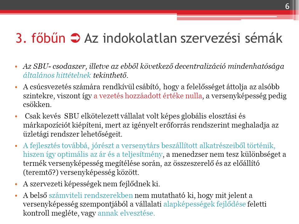 3. főbűn  Az indokolatlan szervezési sémák Az SBU- csodaszer, illetve az ebből következő decentralizáció mindenhatósága általános hittételnek tekinth