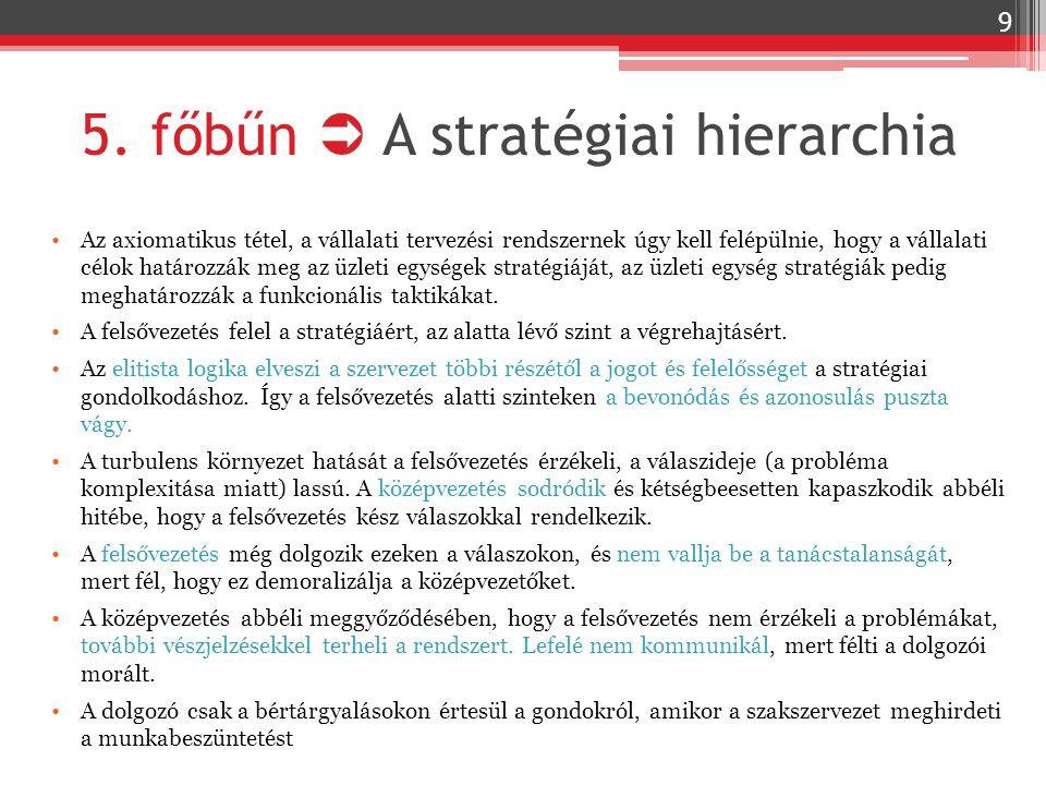 5. főbűn  A stratégiai hierarchia Az axiomatikus tétel, a vállalati tervezési rendszernek úgy kell felépülnie, hogy a vállalati célok határozzák meg