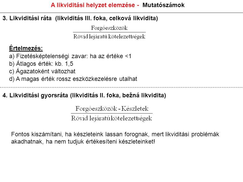 A likviditási helyzet elemzése - Mutatószámok Értelmezés: a) Fizetésképtelenségi zavar: ha az értéke <1 b) Átlagos érték: kb.