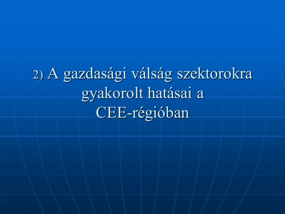 Vesztesek:  Autóipar (teljes vertikum)  Építőipar (magasépítészet – lakások, irodák) a CEE-országokon belül egyes államok lehetőségeikhez képest eltérően élénkít(het)ik a beruházási kedvet – Magyarország van a legkedvezőtlenebb helyzetben  Acélipar (teljes vertikum)  Vegyipar (vegyipari alapanyaggyártók)  Fuvarozás