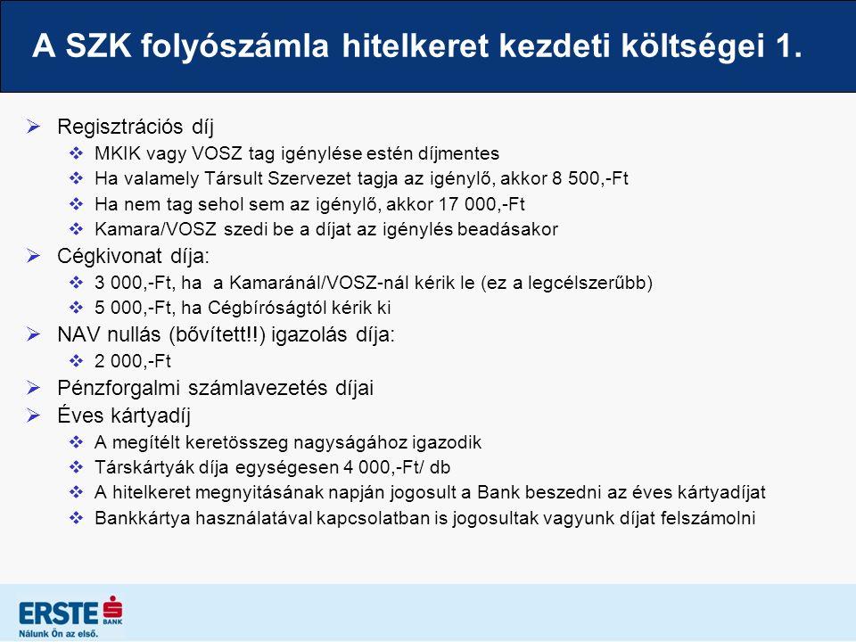 A SZK folyószámla hitelkeret kezdeti költségei 1.