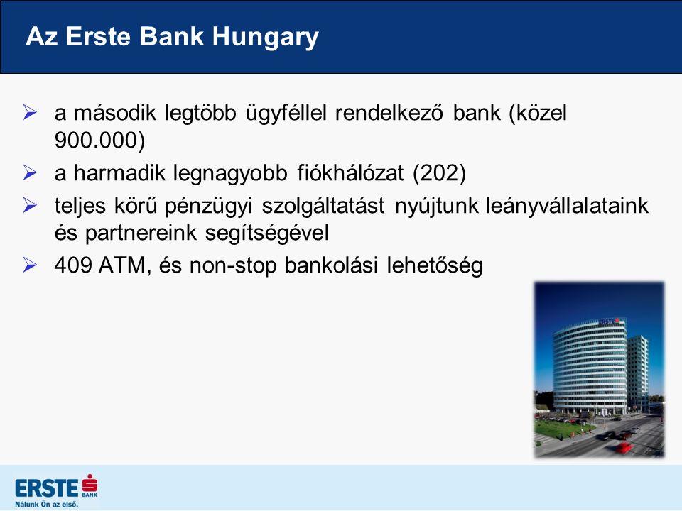 Az Erste Bank Hungary  a második legtöbb ügyféllel rendelkező bank (közel 900.000)  a harmadik legnagyobb fiókhálózat (202)  teljes körű pénzügyi szolgáltatást nyújtunk leányvállalataink és partnereink segítségével  409 ATM, és non-stop bankolási lehetőség