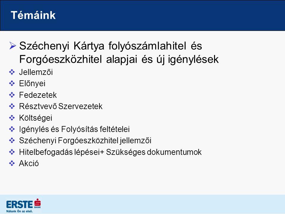 Témáink  Széchenyi Kártya folyószámlahitel és Forgóeszközhitel alapjai és új igénylések  Jellemzői  Előnyei  Fedezetek  Résztvevő Szervezetek  K