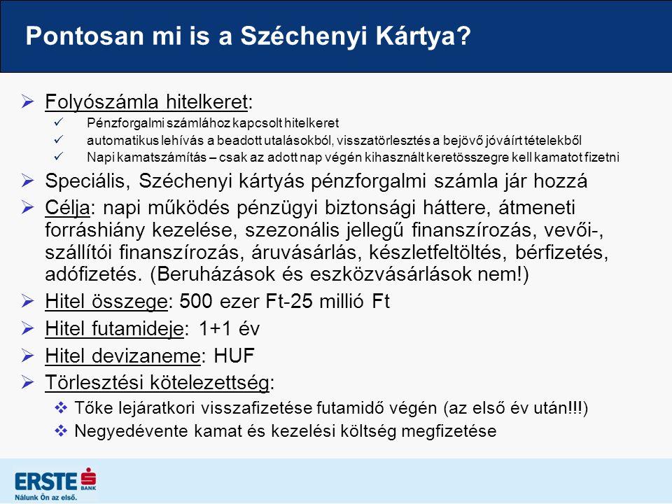 Pontosan mi is a Széchenyi Kártya?  Folyószámla hitelkeret: Pénzforgalmi számlához kapcsolt hitelkeret automatikus lehívás a beadott utalásokból, vis