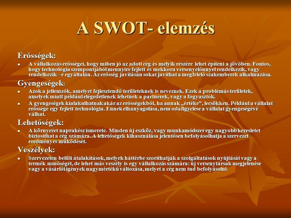 A SWOT- elemzés Erősségek: A vállalkozás erősségei, hogy miben jó az adott cég és melyik részére lehet építeni a jövőben.