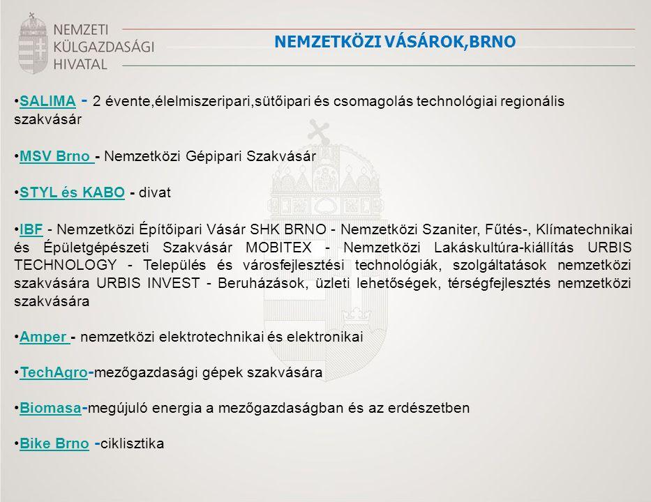 SALIMA - 2 évente,élelmiszeripari,sütőipari és csomagolás technológiai regionális szakvásárSALIMA MSV Brno - Nemzetközi Gépipari SzakvásárMSV Brno STYL és KABO - divatSTYL és KABO IBF - Nemzetközi Építőipari Vásár SHK BRNO - Nemzetközi Szaniter, Fűtés-, Klímatechnikai és Épületgépészeti Szakvásár MOBITEX - Nemzetközi Lakáskultúra-kiállítás URBIS TECHNOLOGY - Település és városfejlesztési technológiák, szolgáltatások nemzetközi szakvására URBIS INVEST - Beruházások, üzleti lehetőségek, térségfejlesztés nemzetközi szakvásáraIBF Amper - nemzetközi elektrotechnikai és elektronikaiAmper TechAgro - mezőgazdasági gépek szakvásáraTechAgro Biomasa - megújuló energia a mezőgazdaságban és az erdészetbenBiomasa Bike Brno - ciklisztikaBike Brno NEMZETKÖZI VÁSÁROK,BRNO