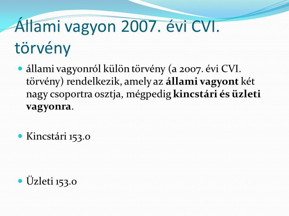 Állami vagyon 2007. évi CVI. törvény állami vagyonról külön törvény (a 2007.
