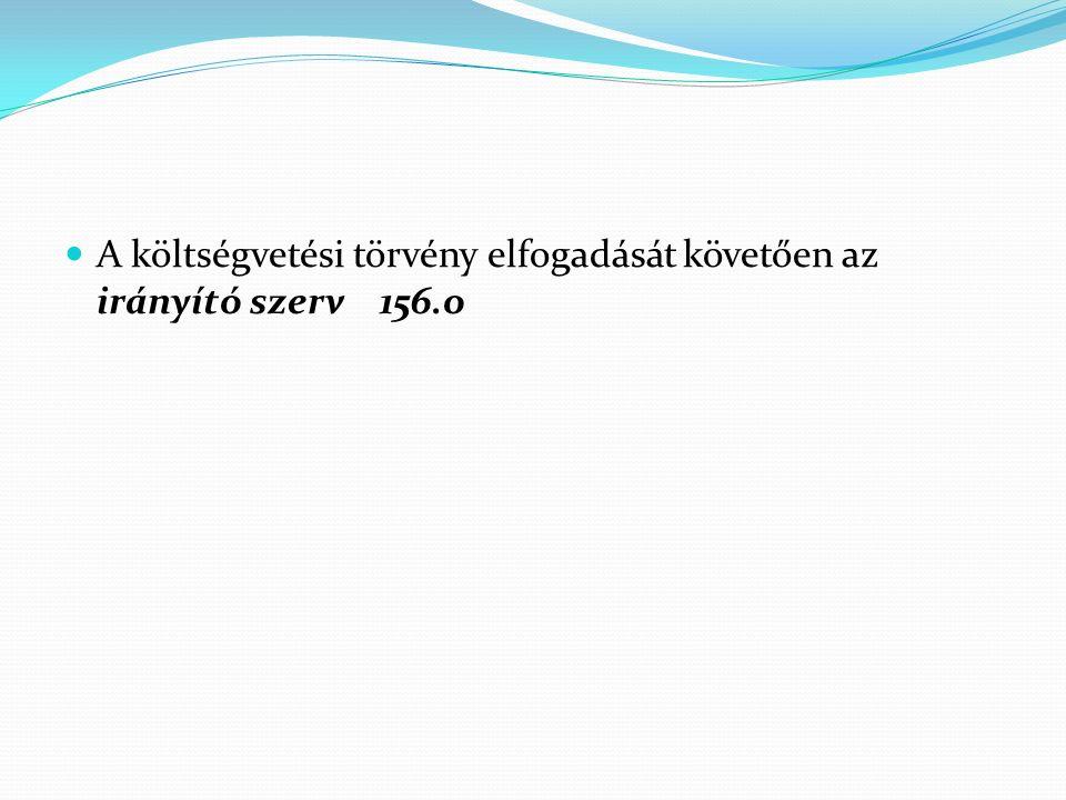 A költségvetési törvény elfogadását követően az irányító szerv 156.o
