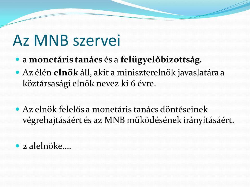 Az MNB szervei a monetáris tanács és a felügyelőbizottság.