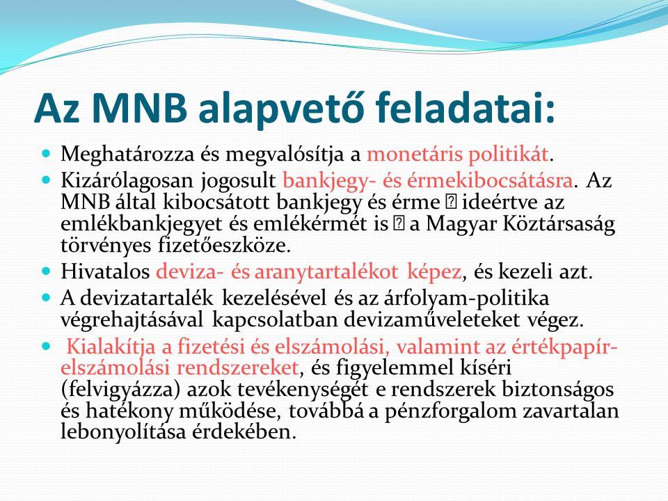 Az MNB alapvető feladatai: Meghatározza és megvalósítja a monetáris politikát.