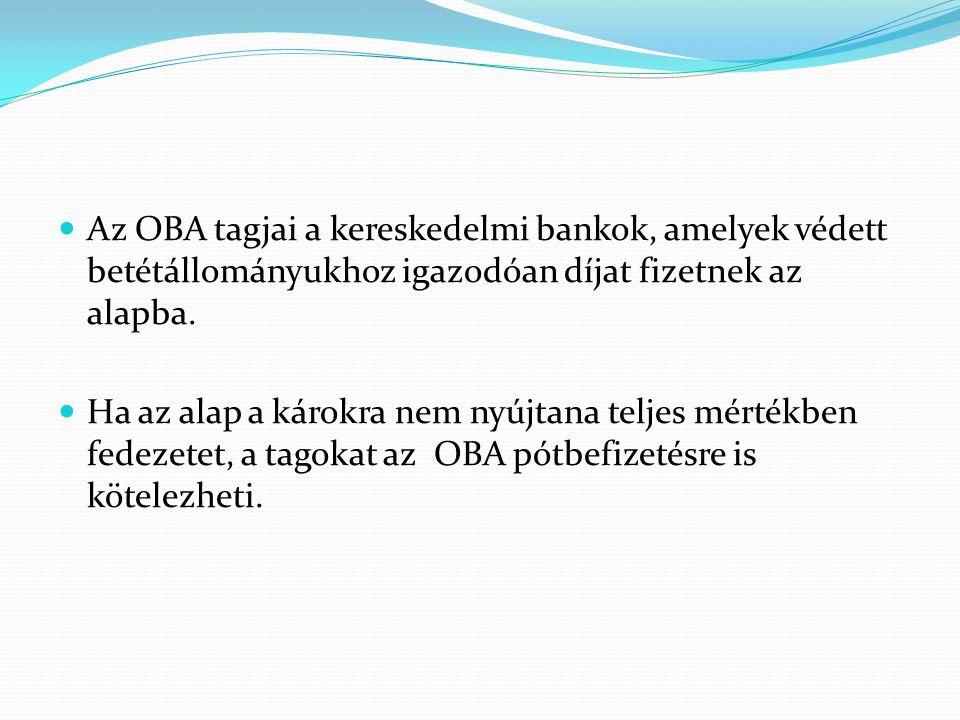 Az OBA tagjai a kereskedelmi bankok, amelyek védett betétállományukhoz igazodóan díjat fizetnek az alapba.