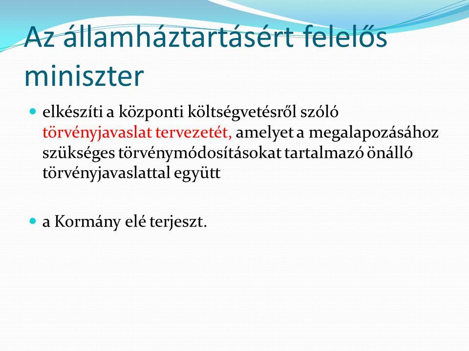 Az államháztartásért felelős miniszter elkészíti a központi költségvetésről szóló törvényjavaslat tervezetét, amelyet a megalapozásához szükséges törvénymódosításokat tartalmazó önálló törvényjavaslattal együtt a Kormány elé terjeszt.