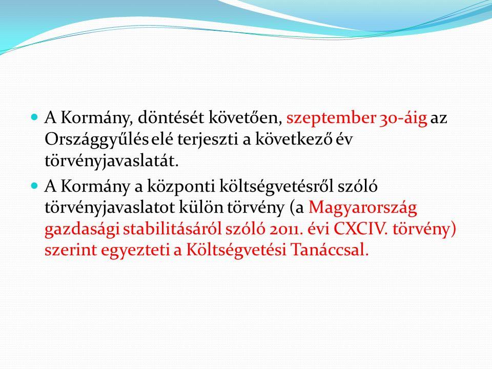 A Kormány, döntését követően, szeptember 30-áig az Országgyűlés elé terjeszti a következő év törvényjavaslatát.