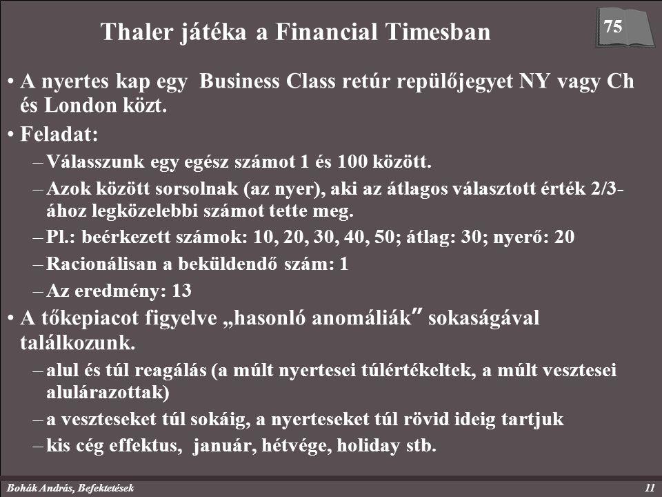 Bohák András, Befektetések11 Thaler játéka a Financial Timesban A nyertes kap egy Business Class retúr repülőjegyet NY vagy Ch és London közt. Feladat