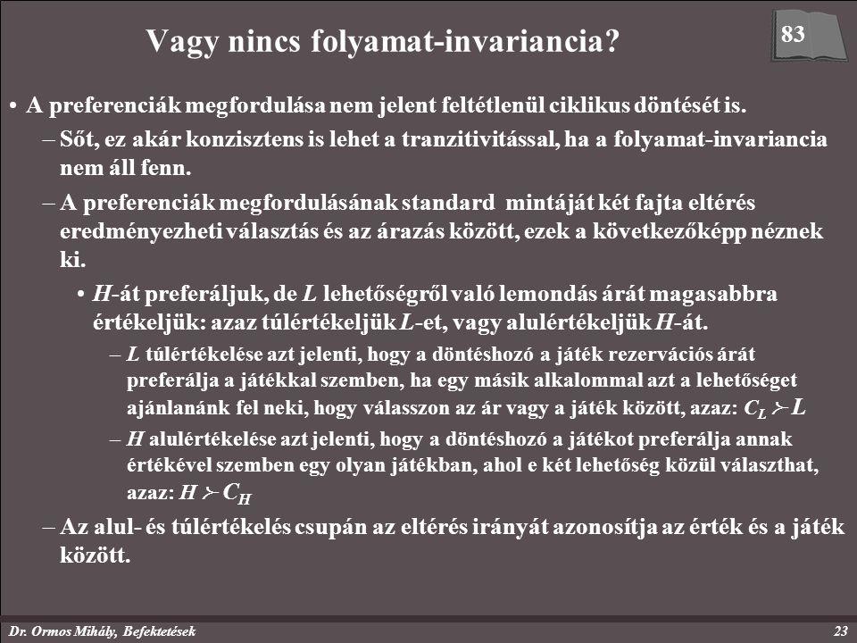 Dr. Ormos Mihály, Befektetések23 Vagy nincs folyamat-invariancia? A preferenciák megfordulása nem jelent feltétlenül ciklikus döntését is. –Sőt, ez ak