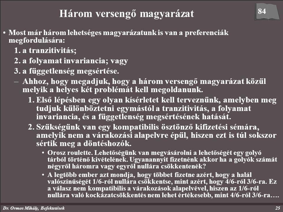 Dr. Ormos Mihály, Befektetések25 Három versengő magyarázat Most már három lehetséges magyarázatunk is van a preferenciák megfordulására: 1.a tranzitiv