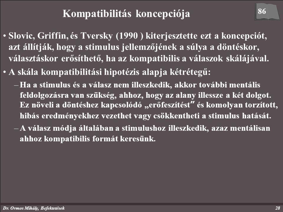 Dr. Ormos Mihály, Befektetések28 Kompatibilitás koncepciója Slovic, Griffin, és Tversky (1990 ) kiterjesztette ezt a koncepciót, azt állítják, hogy a