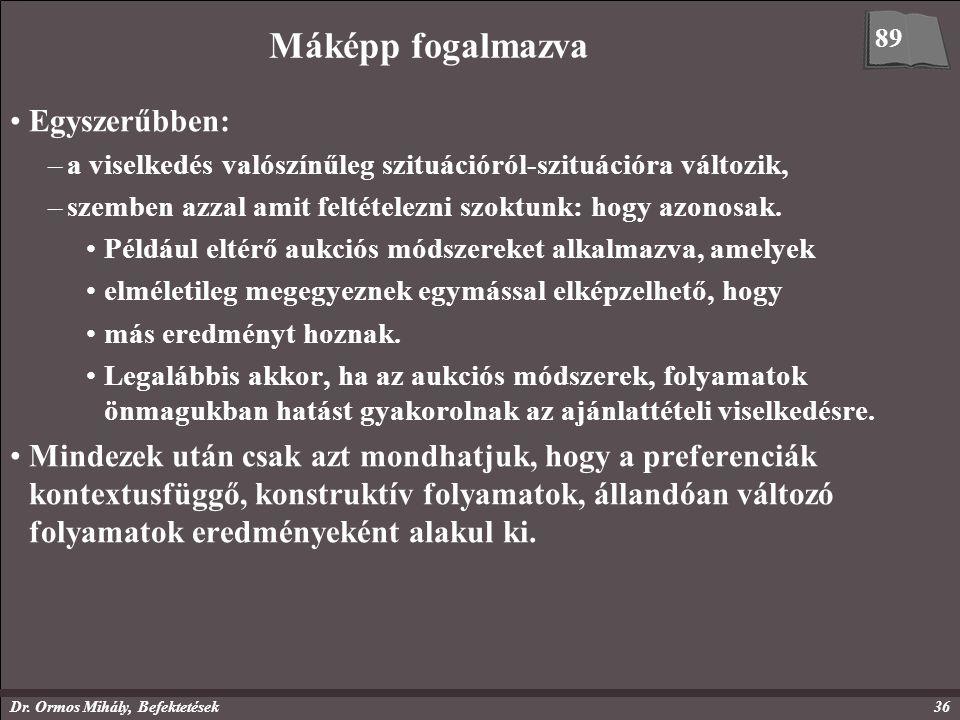 Dr. Ormos Mihály, Befektetések36 Máképp fogalmazva Egyszerűbben: –a viselkedés valószínűleg szituációról-szituációra változik, –szemben azzal amit fel