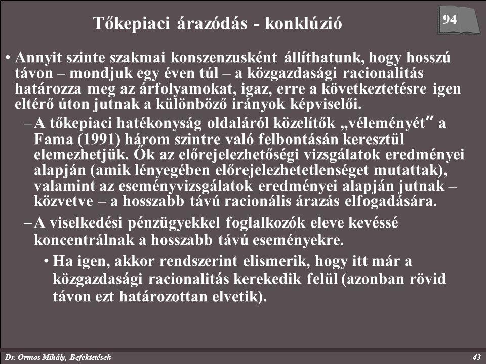 Dr. Ormos Mihály, Befektetések43 Tőkepiaci árazódás - konklúzió Annyit szinte szakmai konszenzusként állíthatunk, hogy hosszú távon – mondjuk egy éven
