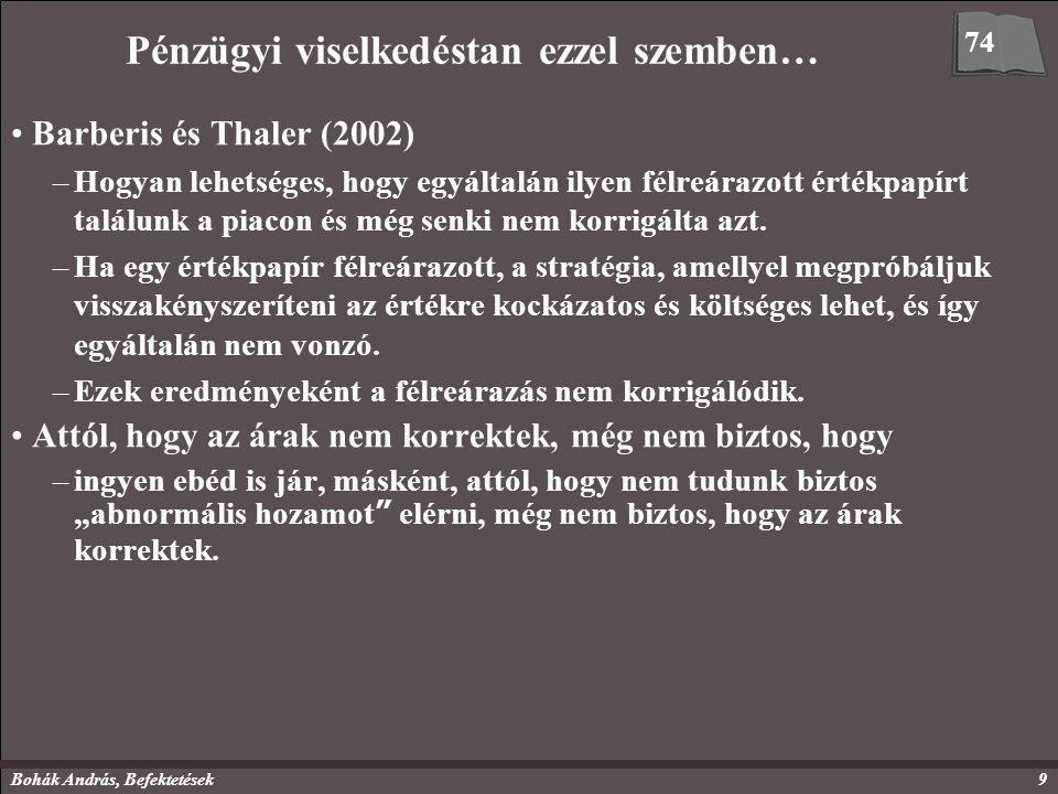 Bohák András, Befektetések10 Két állítás vagy kérdés Shefrintől (2002) 1.