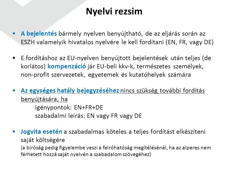 Nyelvi rezsim A bejelentés bármely nyelven benyújtható, de az eljárás során az ESZH valamelyik hivatalos nyelvére le kell fordítani (EN, FR, vagy DE) E fordításhoz az EU-nyelven benyújtott bejelentések után teljes (de korlátos) kompenzáció jár EU-beli kkv-k, természetes személyek, non-profit szervezetek, egyetemek és kutatóhelyek számára Az egységes hatály bejegyzéséhez nincs szükség további fordítás benyújtására, ha igénypontok: EN+FR+DE szabadalmi leírás: EN vagy FR vagy DE Jogvita esetén a szabadalmas köteles a teljes fordítást elkészíteni saját költségére (a bíróság pedig figyelembe veszi a felróhatóság megítélésénél, ha az alperes nem férhetett hozzá saját nyelvén a szabadalom szövegéhez)