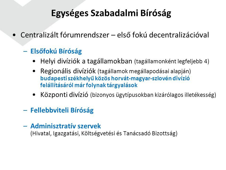 Egységes Szabadalmi Bíróság Centralizált fórumrendszer – első fokú decentralizációval –Elsőfokú Bíróság Helyi divíziók a tagállamokban (tagállamonként legfeljebb 4) Regionális divíziók (tagállamok megállapodásai alapján) budapesti székhelyű közös horvát-magyar-szlovén divízió felállításáról már folynak tárgyalások Központi divízió (bizonyos ügytípusokban kizárólagos illetékesség) –Fellebbviteli Bíróság –Adminisztratív szervek (Hivatal, Igazgatási, Költségvetési és Tanácsadó Bizottság)
