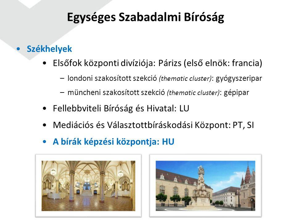 Székhelyek Elsőfok központi divíziója: Párizs (első elnök: francia) –londoni szakosított szekció (thematic cluster) : gyógyszeripar –müncheni szakosított szekció (thematic cluster) : gépipar Fellebbviteli Bíróság és Hivatal: LU Mediációs és Választottbíráskodási Központ: PT, SI A bírák képzési központja: HU Egységes Szabadalmi Bíróság