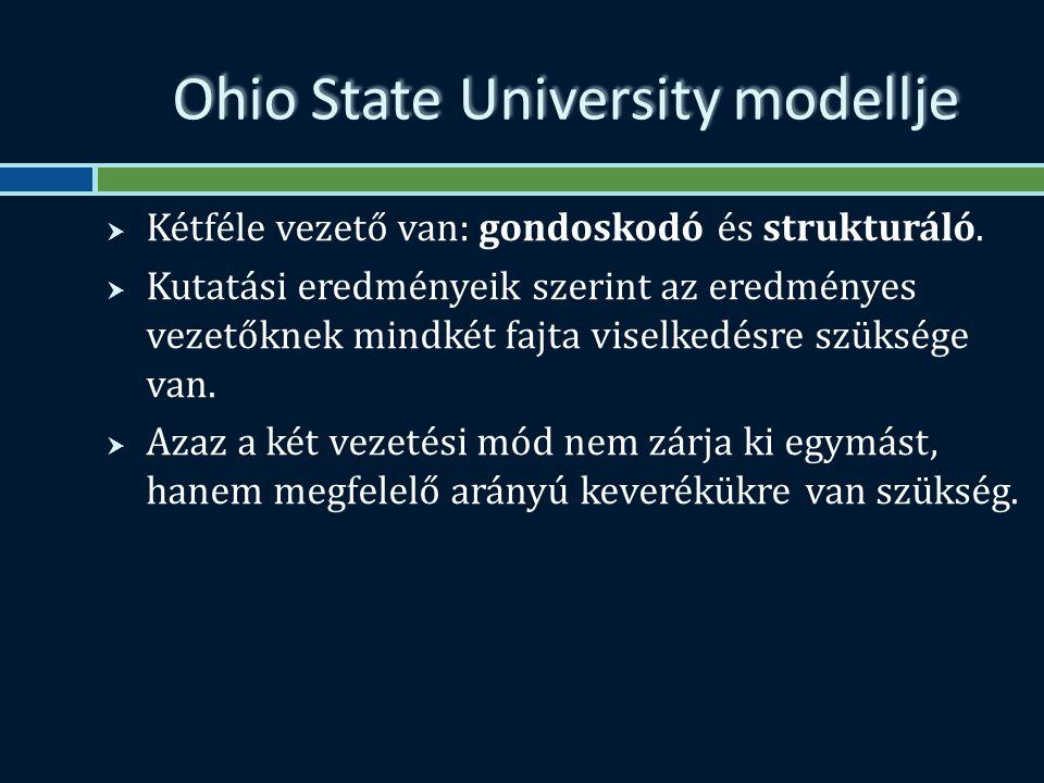 Ohio State University modellje  Kétféle vezető van: gondoskodó és strukturáló.