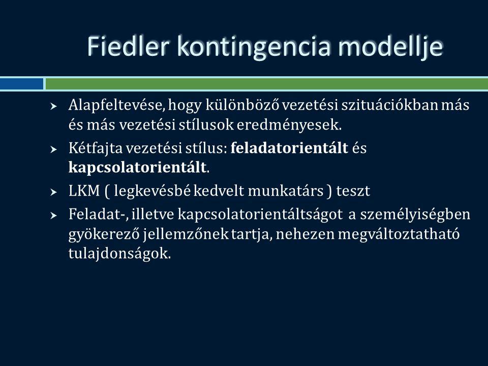 Fiedler kontingencia modellje  Alapfeltevése, hogy különböző vezetési szituációkban más és más vezetési stílusok eredményesek.
