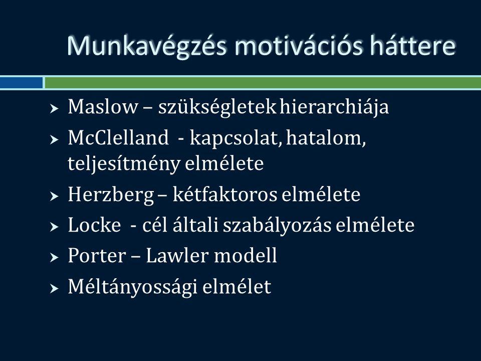 Munkavégzés motivációs háttere  Maslow – szükségletek hierarchiája  McClelland - kapcsolat, hatalom, teljesítmény elmélete  Herzberg – kétfaktoros elmélete  Locke - cél általi szabályozás elmélete  Porter – Lawler modell  Méltányossági elmélet