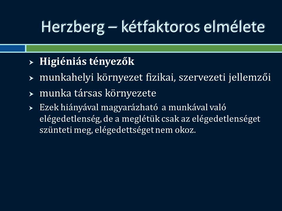 Herzberg – kétfaktoros elmélete  Higiéniás tényezők  munkahelyi környezet fizikai, szervezeti jellemzői  munka társas környezete  Ezek hiányával magyarázható a munkával való elégedetlenség, de a meglétük csak az elégedetlenséget szünteti meg, elégedettséget nem okoz.