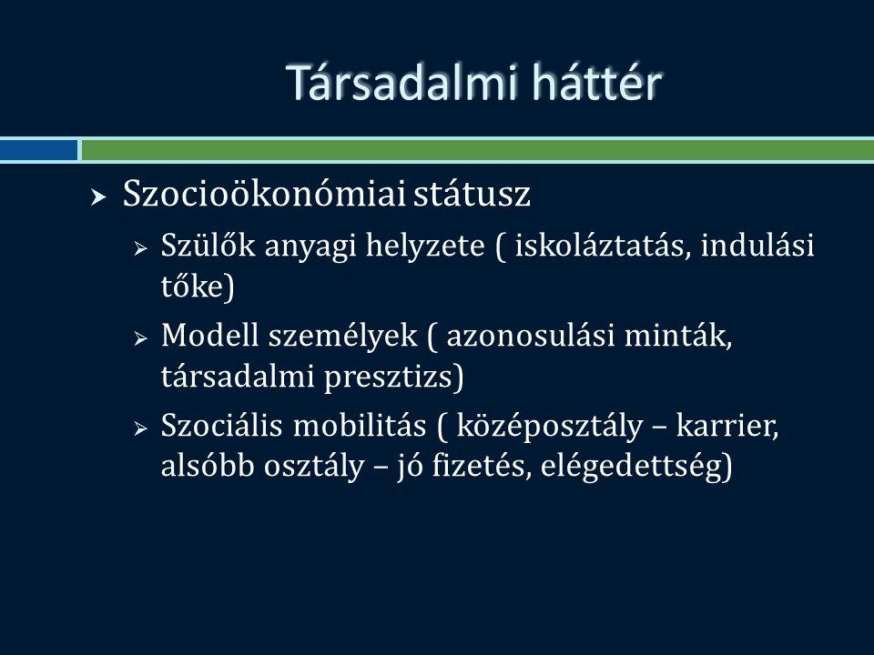 Társadalmi háttér  Szocioökonómiai státusz  Szülők anyagi helyzete ( iskoláztatás, indulási tőke)  Modell személyek ( azonosulási minták, társadalmi presztizs)  Szociális mobilitás ( középosztály – karrier, alsóbb osztály – jó fizetés, elégedettség)