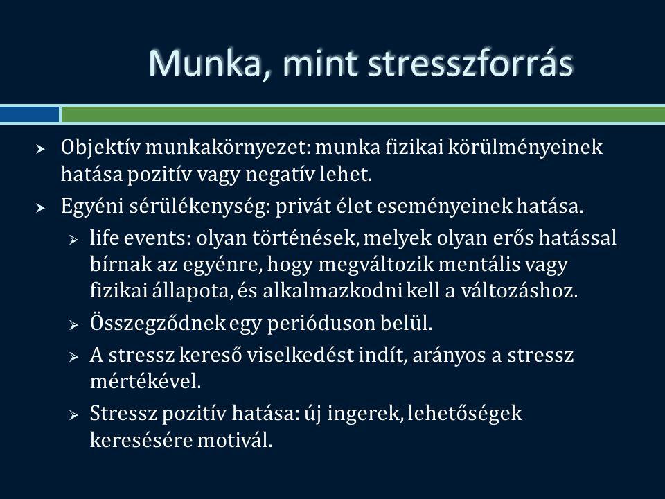 Munka, mint stresszforrás  Objektív munkakörnyezet: munka fizikai körülményeinek hatása pozitív vagy negatív lehet.