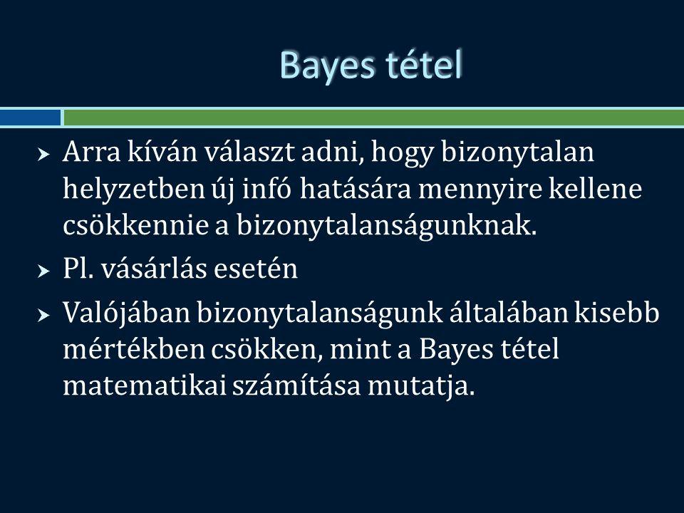 Bayes tétel  Arra kíván választ adni, hogy bizonytalan helyzetben új infó hatására mennyire kellene csökkennie a bizonytalanságunknak.