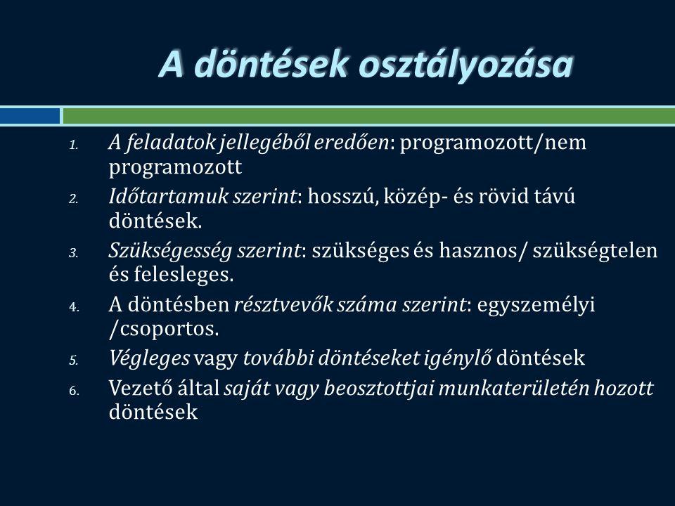 A döntések osztályozása 1. A feladatok jellegéből eredően: programozott/nem programozott 2.