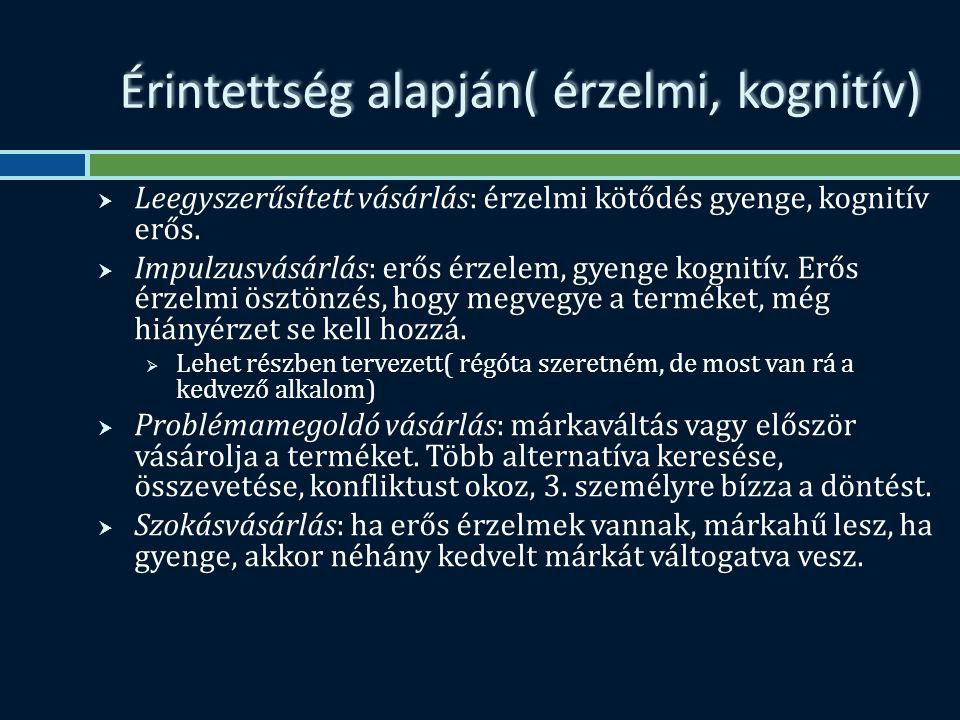 Érintettség alapján( érzelmi, kognitív)  Leegyszerűsített vásárlás: érzelmi kötődés gyenge, kognitív erős.