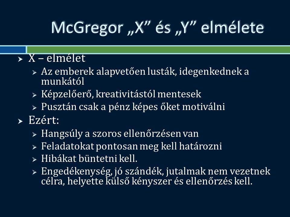 """McGregor """"X és """"Y elmélete  X – elmélet  Az emberek alapvetően lusták, idegenkednek a munkától  Képzelőerő, kreativitástól mentesek  Pusztán csak a pénz képes őket motiválni  Ezért:  Hangsúly a szoros ellenőrzésen van  Feladatokat pontosan meg kell határozni  Hibákat büntetni kell."""