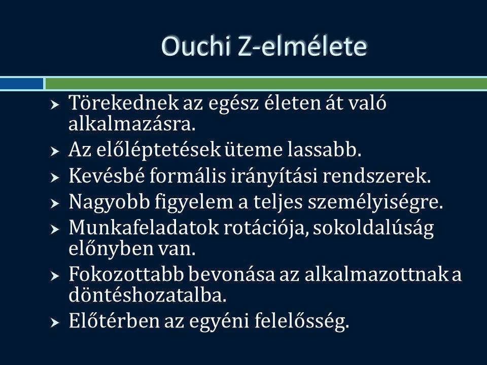 Ouchi Z-elmélete  Törekednek az egész életen át való alkalmazásra.