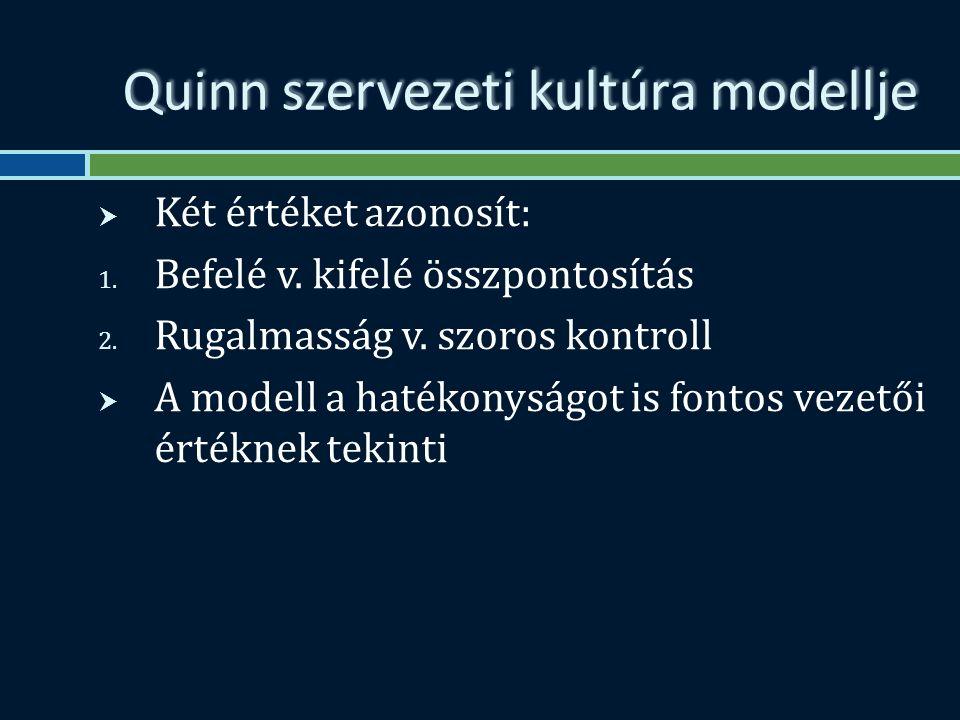 Quinn szervezeti kultúra modellje  Két értéket azonosít: 1.