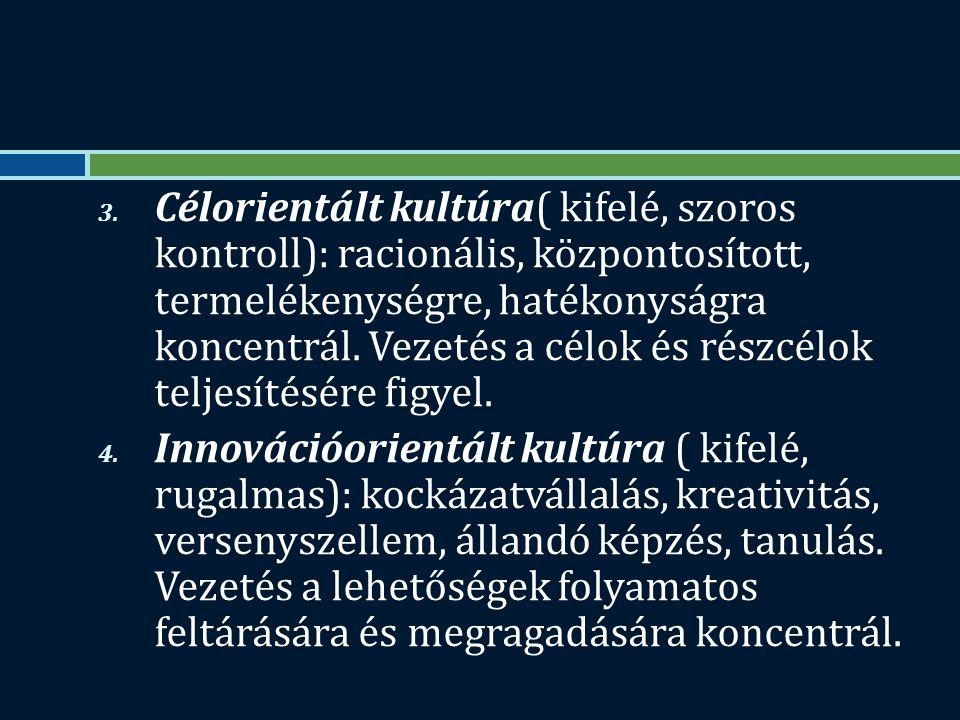 3. Célorientált kultúra( kifelé, szoros kontroll): racionális, központosított, termelékenységre, hatékonyságra koncentrál. Vezetés a célok és részcélo