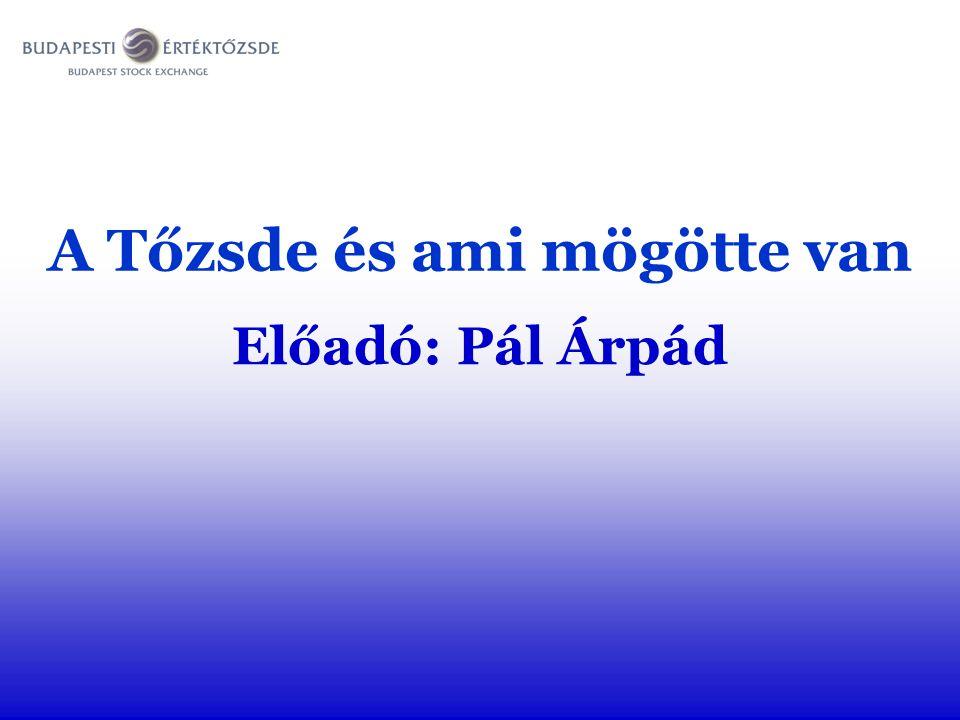 A Tőzsde és ami mögötte van Előadó: Pál Árpád