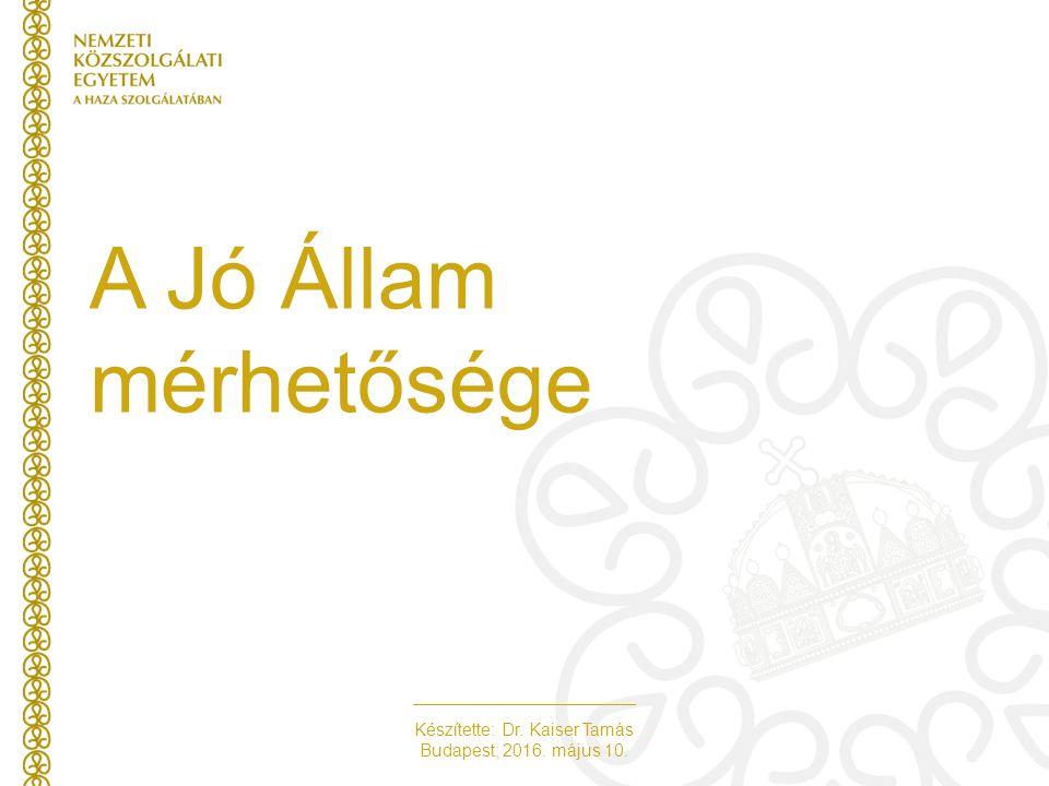 Készítette: Dr. Kaiser Tamás Budapest, 2016. május 10. A Jó Állam mérhetősége
