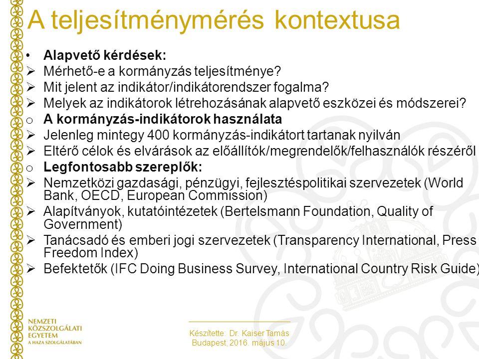 Készítette: Dr. Kaiser Tamás Budapest, 2016. május 10. A teljesítménymérés kontextusa Alapvető kérdések:  Mérhető-e a kormányzás teljesítménye?  Mit
