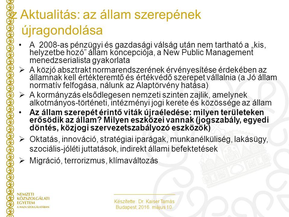 Készítette: Dr. Kaiser Tamás Budapest, 2016. május 10. z Aktualitás: az állam szerepének újragondolása A 2008-as pénzügyi és gazdasági válság után nem
