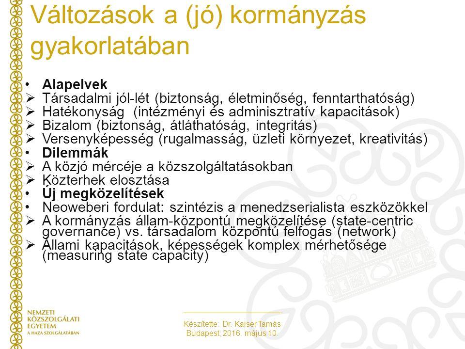Készítette: Dr. Kaiser Tamás Budapest, 2016. május 10. Változások a (jó) kormányzás gyakorlatában Alapelvek  Társadalmi jól-lét (biztonság, életminős