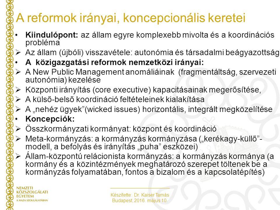 Készítette: Dr. Kaiser Tamás Budapest, 2016. május 10. A reformok irányai, koncepcionális keretei Kiindulópont: az állam egyre komplexebb mivolta és a