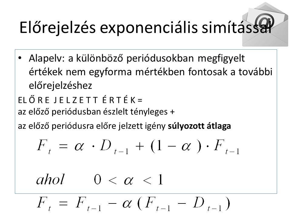 Előrejelzés exponenciális simítással Alapelv: a különböző periódusokban megfigyelt értékek nem egyforma mértékben fontosak a további előrejelzéshez EL Ő R E J E L Z E T T É R T É K = az előző periódusban észlelt tényleges + az előző periódusra előre jelzett igény súlyozott átlaga