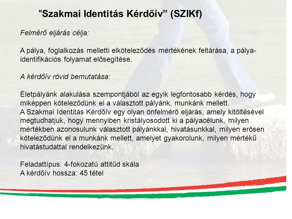 Szakmai Identitás Kérdőív (SZIKf) Felmérő eljárás célja: A pálya, foglalkozás melletti elköteleződés mértékének feltárása, a pálya- identifikációs folyamat elősegítése.