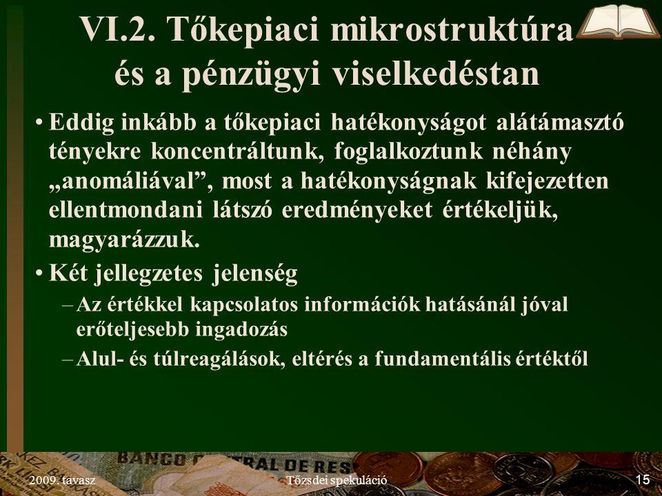2009. tavaszTőzsdei spekuláció15 VI.2. Tőkepiaci mikrostruktúra és a pénzügyi viselkedéstan Eddig inkább a tőkepiaci hatékonyságot alátámasztó tényekr